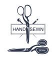 needles and scissors silhouette vector image
