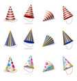 party hats birthday caps with stripes polka dots vector image vector image