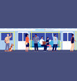people in public transport subway train travel vector image vector image