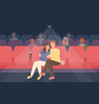 romantic couple sitting in movie theater or cinema vector image vector image