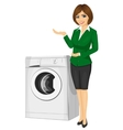 sales woman showing a washing machine vector image vector image