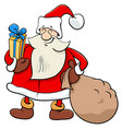 santa claus christmas character with presents vector image vector image