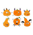 set six colorful cartoon pumpkins with faces vector image