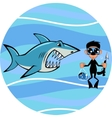 Shark and diver vector image vector image