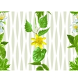 Spring green leaves and flowers Seamless pattern vector image