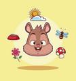 squirrel head cartoon vector image
