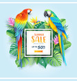 summer sale card with scarlet and blue macaw vector image