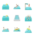 Swimming on water icons set cartoon style vector image vector image