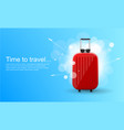 time to travel red glossy suitcase with wheels vector image