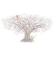 tree and bird on a white background vector image vector image