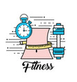 waist with meter and choronometer with dumbbell vector image vector image