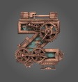 z rusted letter with gears vector image