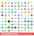 100 universe icons set cartoon style vector image vector image