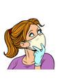 beautiful girl in medical mask looks sideways vector image