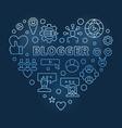 blogger heart shape concept blue outline vector image vector image