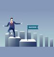 business man walk financial chart bar success vector image