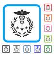 caduceus logo framed icon vector image
