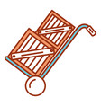cart with boxes wooden delivery service vector image