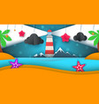 cartoon paper island beach palm star cloud vector image