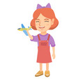 caucasian cheerful girl playing with toy airplane vector image