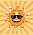 character sun sunglasses happy with striped vector image