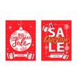 christmas sale shop now leaflet with lettering vector image