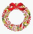 christmas wreath made from a flower pattern vector image vector image