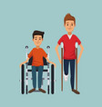color background with men on crutches and vector image vector image