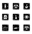 Conservation icons set grunge style vector image vector image