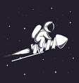cute astronaut flying on firework rocket vector image vector image