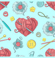 cute seamless pattern of balls of yarn buttons vector image vector image