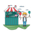 doodle carnival shop with boy balloons design vector image