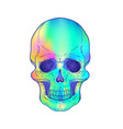 drawing of green skull isolated on white vector image