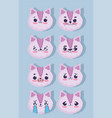 emojis kawaii cartoon faces cute pink animal vector image vector image