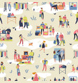 flea market people shopping second hand stylish vector image
