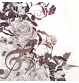 floral background with roses in vintage sepia vector image vector image