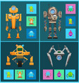 futuristic cyborgs set artificial intelligence vector image vector image