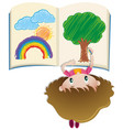 girl drawing in book with colorpencil vector image