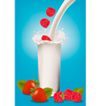 glass of milk and fruit vector image vector image