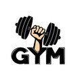 gym sign with dumbbell in hand vector image