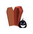halloween black pumpkin and coffin vector image