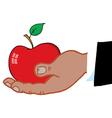 Hand holding apple cartoon vector image vector image