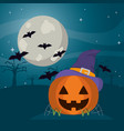 happy pumpkin wearing witch hat and bats vector image vector image