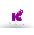 ic i c dots letter logo with purple bubbles vector image vector image