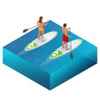 isometric paddleboard beach men and women on stand vector image vector image