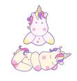 kawaii cute unicorn sleeping sweetly pastel color vector image vector image