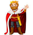 King wearing red robe vector image vector image