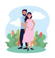man and woman couple pregnant with plants vector image