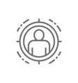 man in target scope identity check line icon vector image