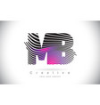 mb m b zebra texture letter logo design with vector image